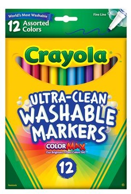 Crayola, Fine Line Washable Markers, Assorted, 12 Pieces  -