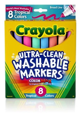 Crayola, Broad Line Washable Markers, Tropical, 8 Pieces  -