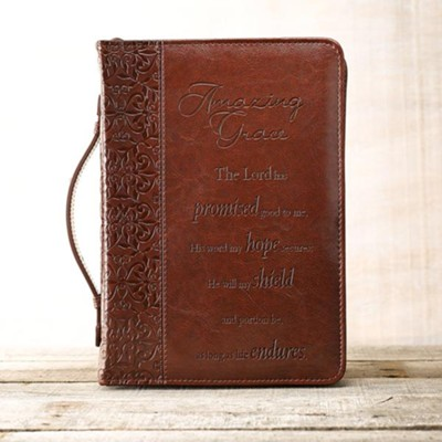 Amazing Grace Leather-Look Bible Cover, Large   -