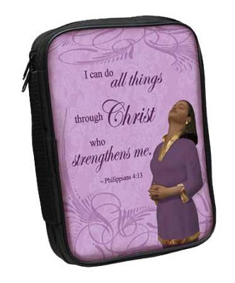 Philippians 4:13 Bible Cover Purple  -