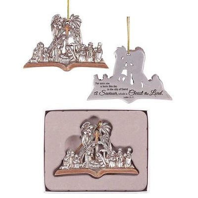 Nativity Open Book Ornament  -