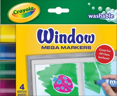 Crayola, Washable Window Mega Markers, 4 Pieces  -