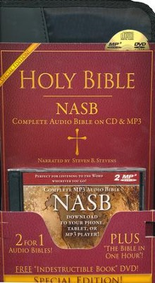 NASB Special Edition Audio Bible on 60 Audio CDs, 2 MP3 Disks With The  Indestructible Book DVD & Bible in One Hour CD