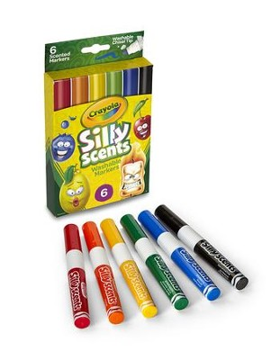 Silly Scents, Chisel Tip Washable Markers, 6 pieces  -