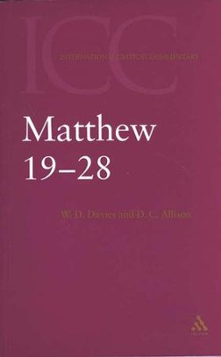 ICC Matthew 19-28, Volume 3   -     By: W.D. Davies, Dale C. Allison