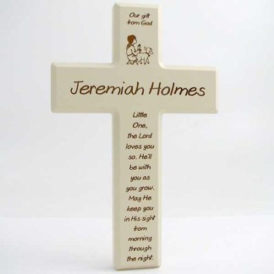 Personalized, Little One, Small Cross, Cream      -
