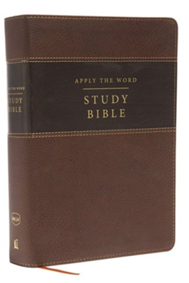 NKJV Apply the Word Study Bible, Large Print, Imitation Leather, Brown, Indexed, Red Letter Edition  -