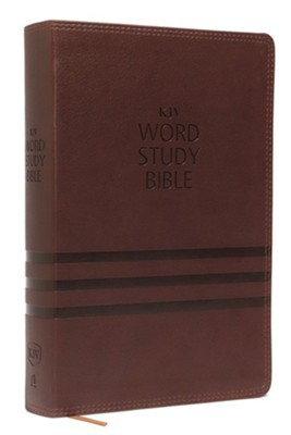 KJV Word Study Bible, Imitation Leather, Brown, Red Letter Edition  -