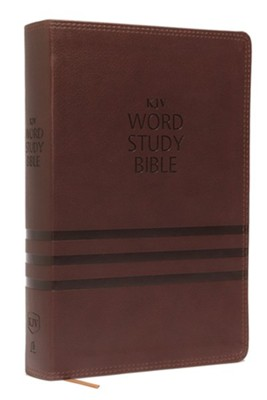 KJV Word Study Bible, Imitation Leather, Brown, Indexed, Red Letter Edition  -