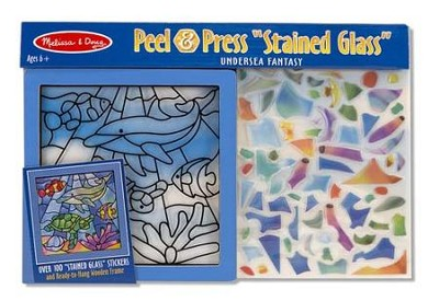 Undersea Fantasy, Stained Glass, Peel and Press Stickers By Number  -