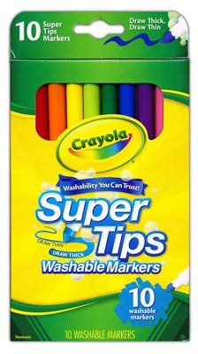 Crayola, Super Tips Washable Fine Line Markers, 10 Pieces  -