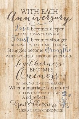 With Each Anniversary Wood Plaque  -