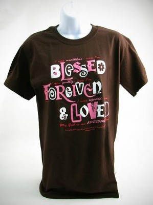 Blessed, Forgiven, Loved Shirt, Brown, Medium   -