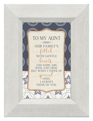 To My Aunt, Our Family's Filled with Gentle Hearts, Mini Framed Print  -