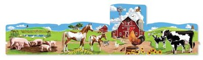 Cardboard Floor Puzzle, Farm Scene, 96 pieces  -
