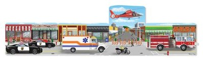 Cardboard Floor Puzzle, Emergency Rescue Scene, 96 pieces  -