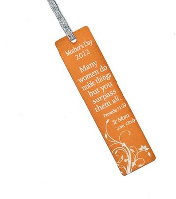 Personalized, Many Women Do Noble Things Mother's Day Bookmark, Orange  -