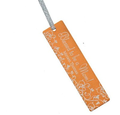 Personalized, Blessed to be a Mom Bookmark, Orange   -