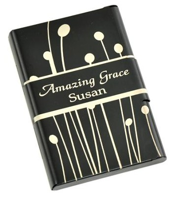 Personalized, Metal Business Card Holder, Amazing  Grace, Black  -