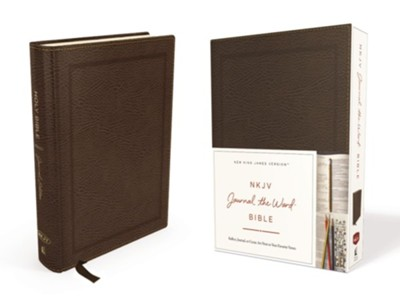 NKJV Journal the Word Bible, Bonded Leather, Brown, Red Letter Edition  -