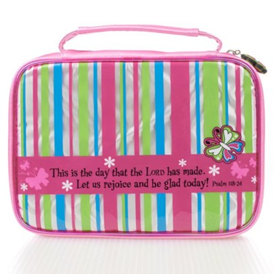Bible Cover - Medium Little Miss Grace Striped  -