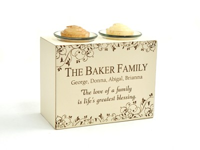 Personalized, Double Votive Holder, The Love of   a Family  -