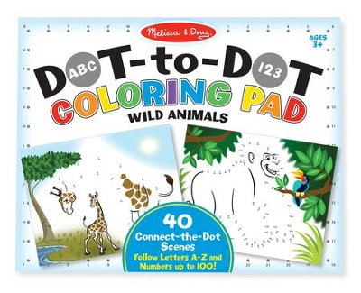 Wild Animals, Dot-To-Dot Coloring Pad  -
