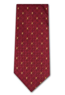 Fish & Cross, Red 2-ply Polyester Tie, Boxed  -