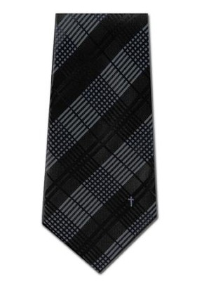Plaid With Cross, Blue & Black, Polyester Tie  -