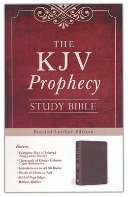 The KJV Prophecy Study Bible, Leather, bonded Burgundy  -     By: Christopher D. Hudson