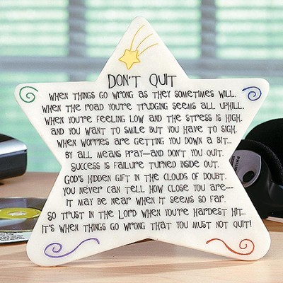 Don't Quit Star Plaque  -     By: Abbey Press