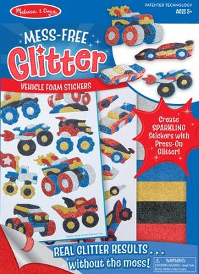 Vehicles, Mess Free Glitter Stickers  -