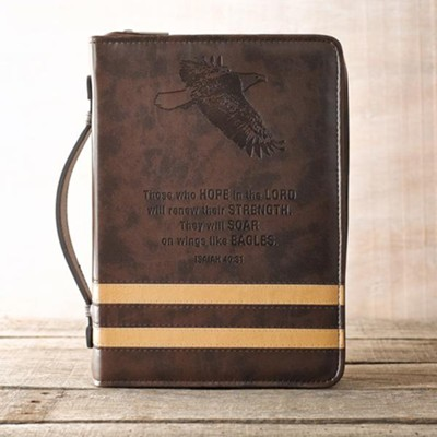 Eagle Isaiah 40:31 Bible Cover, Brown, Large   -