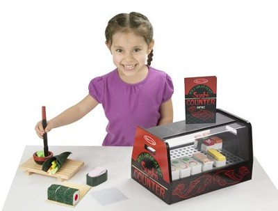 Roll, Wrap & Slice Sushi Counter, Pretend Play Activity Set  -