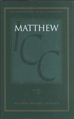 Matthew 1-7, International Critical Commentary   -     By: W.D. Davies