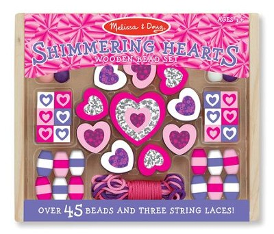Shimmering Hearts Wooden Activity Bead Set  -
