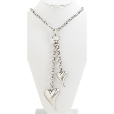 Double Heart Antique Silver Pendant Necklace  -