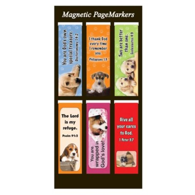 Magnetic Bookmarks, Set of 6, Puppies Assortment I  -