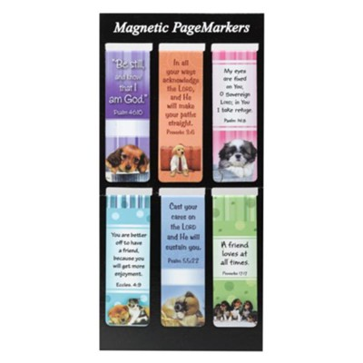 Magnetic Bookmarks, Set of 6, Puppies Assortment II  -