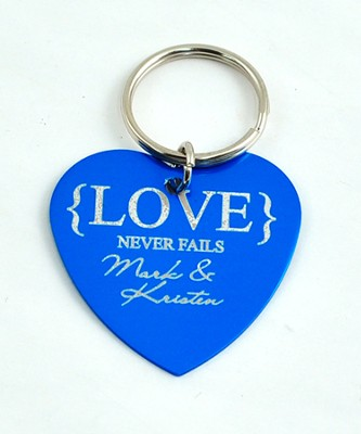 Personalized, Love Never Fails Heart Keychain, Blue   -