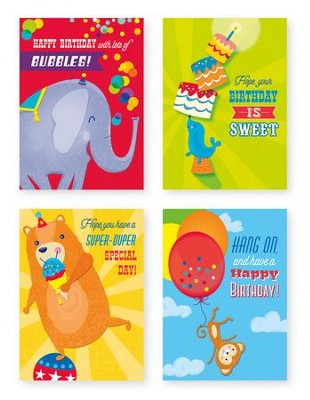 Circus Animals Birthday Cards, Box of 12  -