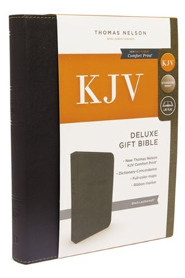 KJV, Deluxe Gift Bible, Imitation Leather, Black, Red Letter Edition  -
