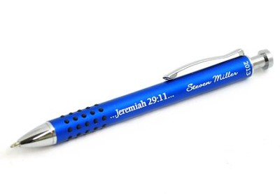 Personalized, Jeremiah 29:11 Graduation Blue Metal Pen with Grip  -