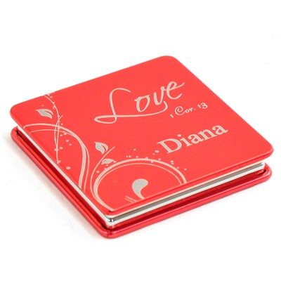 Personalized, Love Compact Mirror, Red   -