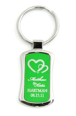Personalized, Two Hearts Keyring, Green   -