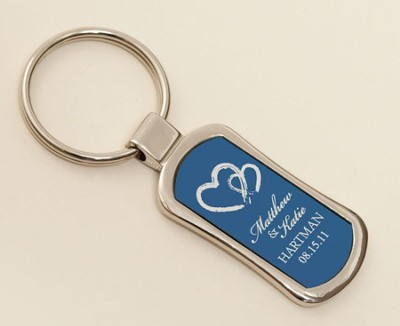 Personalized, Two Hearts Keychain, Blue   -