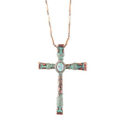 Cross Necklace, Turquoise, Large  -