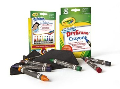 Crayola, Washable Dry-Erase Crayons, 8 Pieces  -
