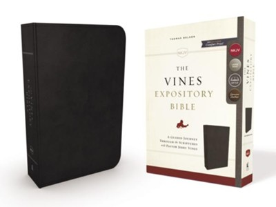NKJV Vines Expository Bible--genuine leather, black  -     Edited By: Jerry Vines
