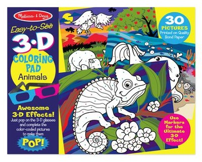 Animals, 3D Coloring Book  -
